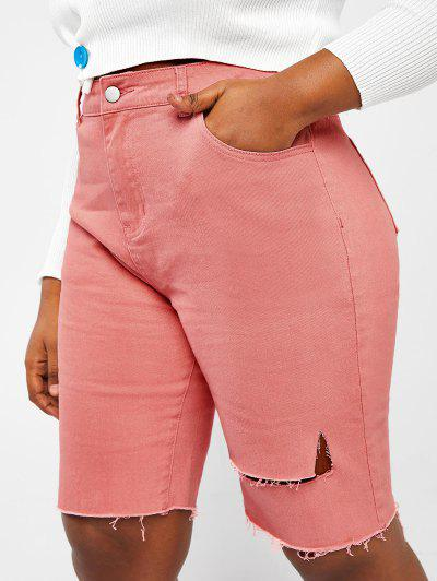 ZAFUL Plus Size Ripped Colored Long Denim Shorts - Light Orange 5xl