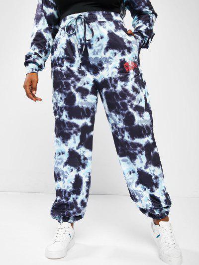 ZAFUL Pantalon De Jogging Teinté Imprimé Dragon Grande Taille - Bleu Profond 5xl