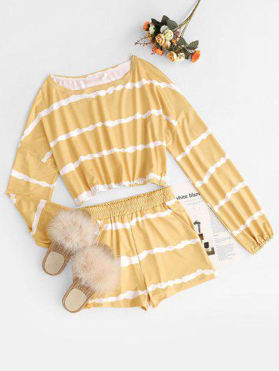 Cropped Tie Dye Stripes Top And Shorts Set - Yellow L