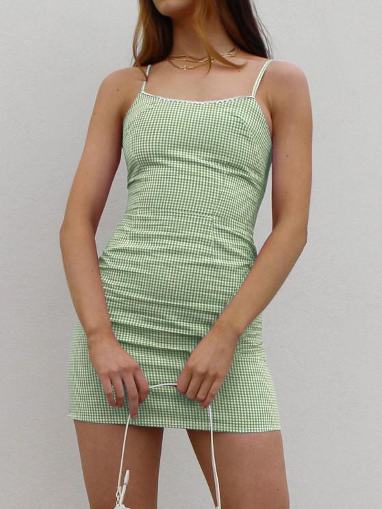 ladies Picot Trim Gingham Cami Dress - GREEN M
