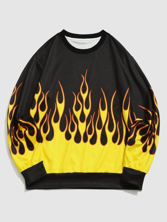 ZAFUL Contrast Flame Print Pullover Sweatshirt - الأصفر XXL