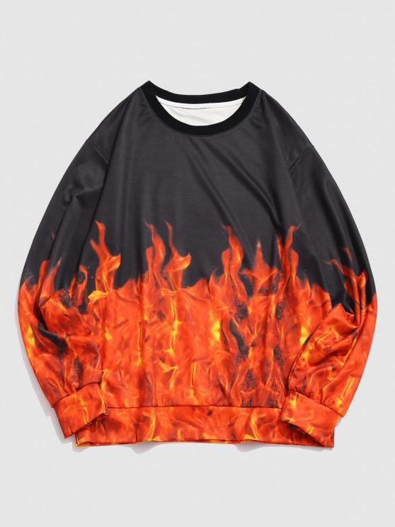 ZAFUL Flame 3D Print Pullover Sweatshirt - أسود L