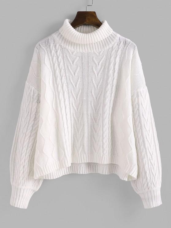 Rollkragen Zopfmuster Hängender Schulter Pullover - Weiß M
