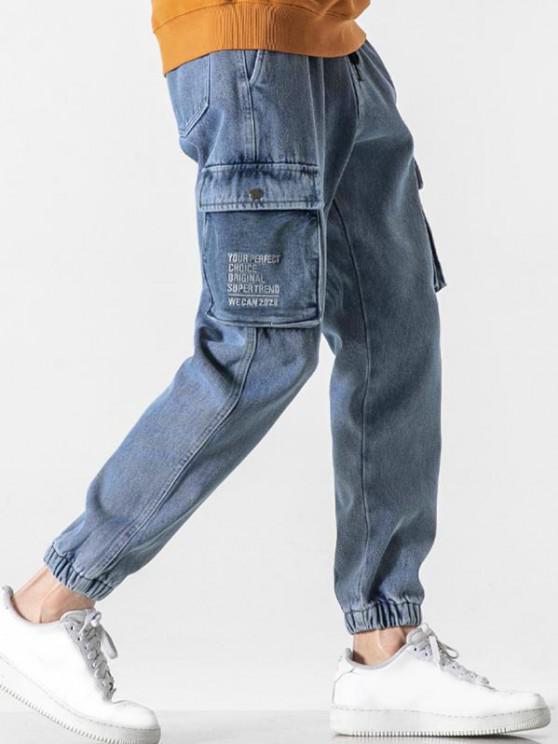 Stickerei Buchstabe Cargo Jeans - Blau M
