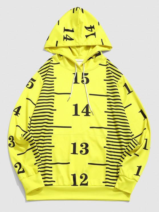 ZAFUL Measure Gauge Print Kangaroo Pocket Hoodie - الأصفر S