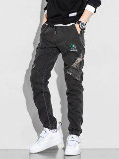 Letter Contrast Embroidery Jeans - Black L