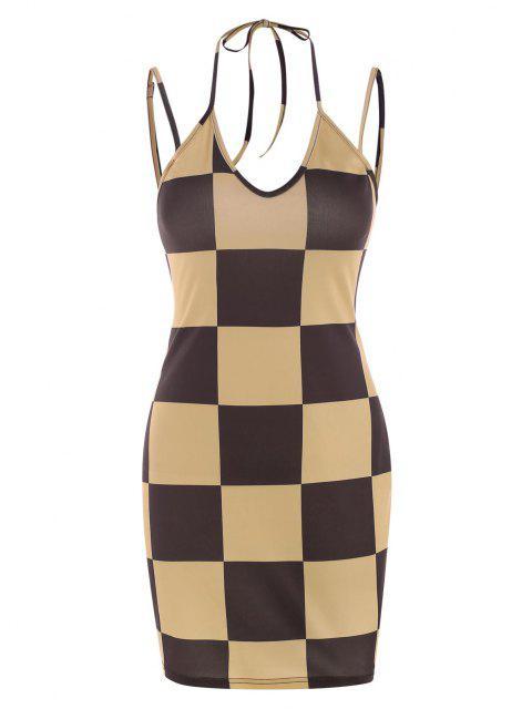 Schachbrett-Krawatte Schlüsselloch-Cami-Kleid - Kaffee S Mobile