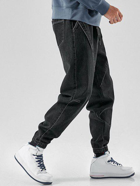 Jeans Desgastados con Bordado de Letra - Negro M Mobile