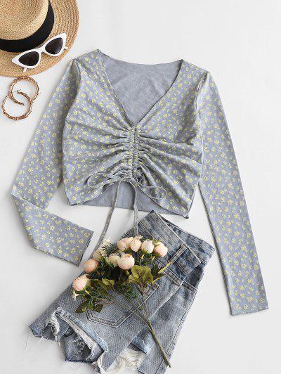 Ditsy Blumen Kittel V Ausschnitt T-Shirt - Hellgrau L