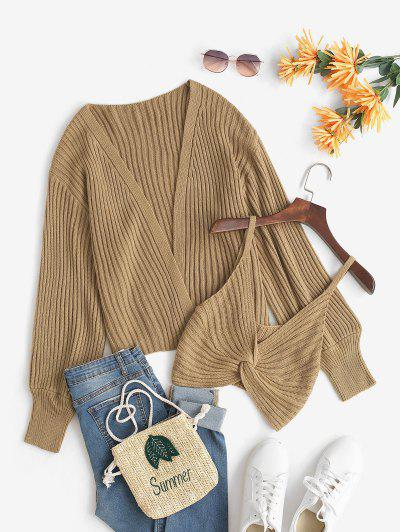 Open Knit Cardigan And Twisted Cami Top Set - Coffee S