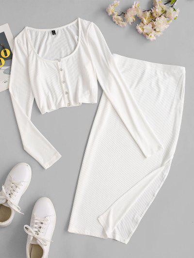 ZAFUL Ribbed Loop Button Thigh Split Skirt Set - White L