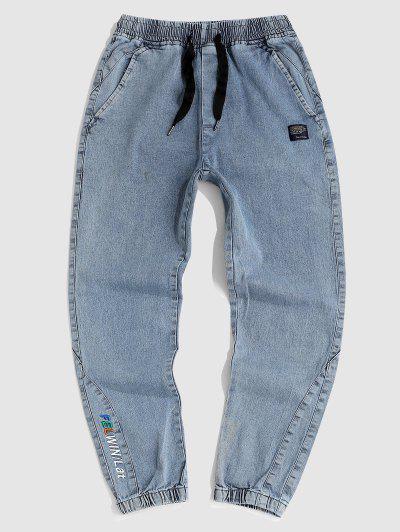 Stickerei Buchstabe Muster Jeans - Hellblau M