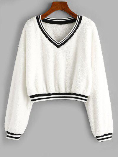 ZAFUL V Neck Preppy Stripes Fluffy Sweatshirt - White S