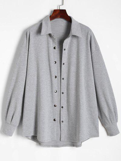 Snap Button Down Marled Shacket - Gray S