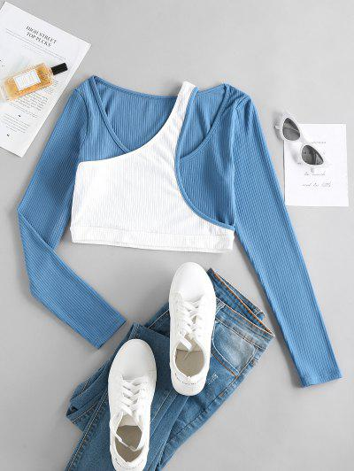 ZAFUL Ribbed Colorblock Crop Twofer T Shirt - Multi M
