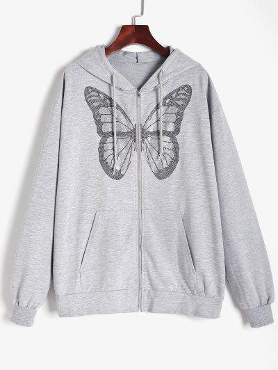 Drawstring Rhinestones Butterfly Zip Up Hoodie - Gray S