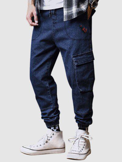 Guitar Applique Drawstring Cargo Jeans - Cadetblue 3xl