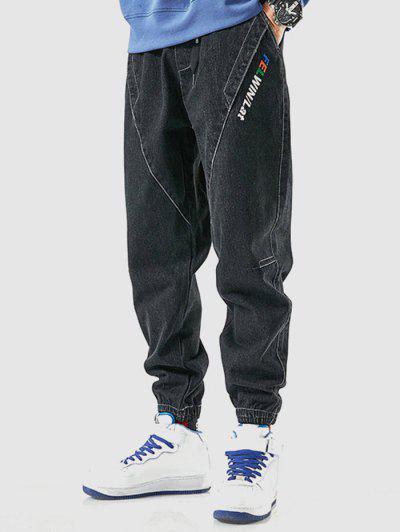 Buchstabe Stickerei Lässige Breite Füße Jeans - Schwarz M