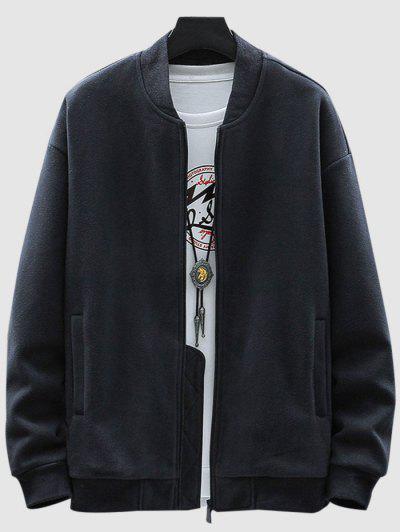 Fleece Zip Up Pocket Jacket - Deep Blue S