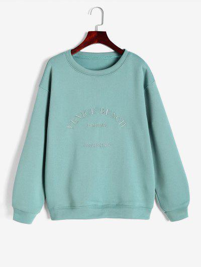 Vlies Gefütterte Venedig Strand Gesticktes Sweatshirt - Grün S