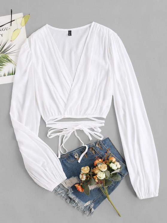 Verkürztes Bluse mit Batikmuster - Weiß M