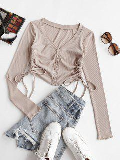 Cropped Button Up Cinched Side Ribbed Tee - Light Coffee S