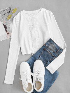 Ribbed Lace Panel Slim Crop Tee - White S