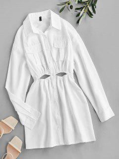 ZAFUL Cut Out Pocket Drop Shoulder Shirt Dress - White S