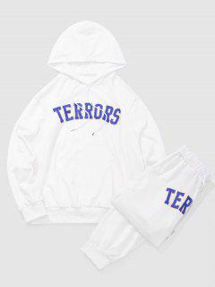 Letters TERRORS Print Hoodie And Sports Pants Set - White 2xl
