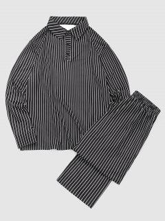 Striped Print Turn Down Collar T-shirt And Casual Pants Set - Black Xl