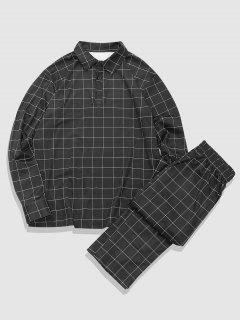 Grid Print Turn Down Collar T-shirt And Casual Pants Set - Black 2xl