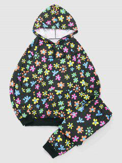Naughty Smile Face Flower Hoodie And Pants Set - Black L