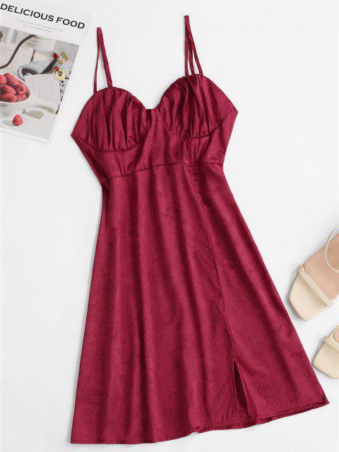 Orientalische Jacquard Cami Kleid mit Schlitz - Tiefrot L Mobile