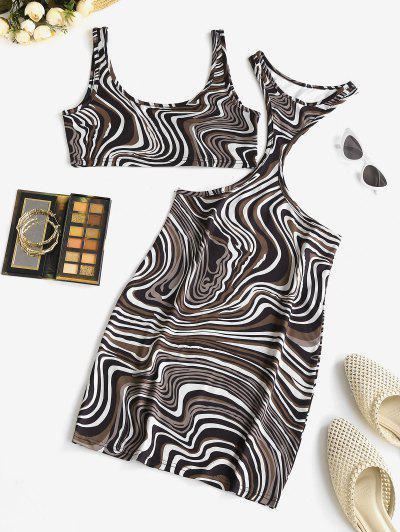 ZAFUL Agate Print Racerback Dress and Crop Tank Top Set
