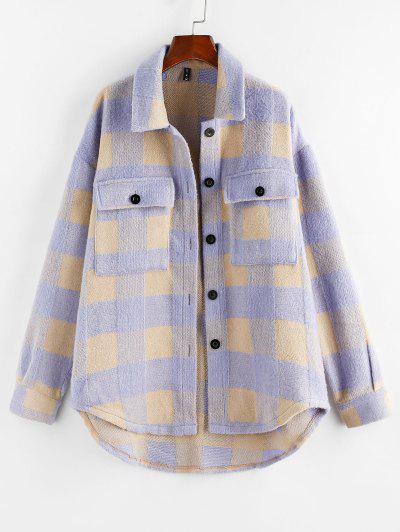 ZAFUL Plaid Wool Blend Flap Pocket Tunic Shacket - Light Blue M