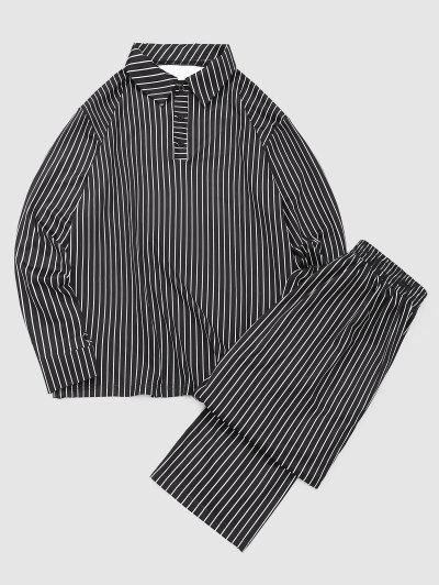 Gestreiftes Druck Umlegekragen T-Shirt Und Lässiger Hose Set - Schwarz Xl