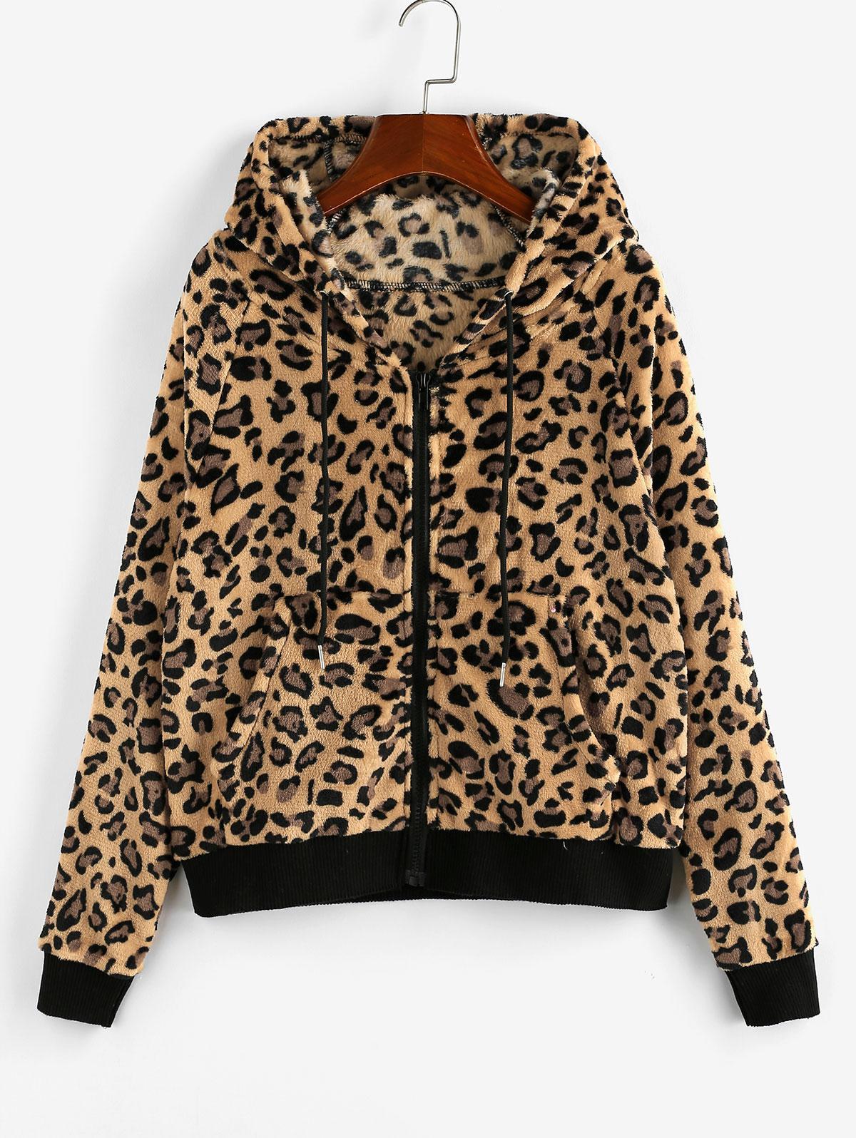 ZAFUL Leopard Fleece Raglan Sleeve Pocket Jacket