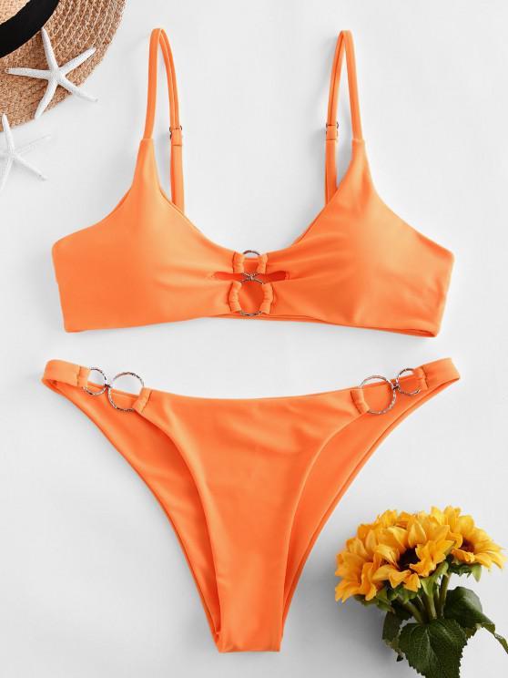 chic ZAFUL Dual O-ring Neon Bikini Swimsuit - DARK ORANGE M