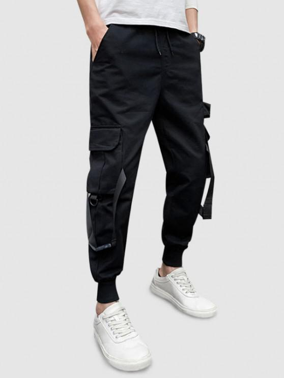 Einfarbige Cargo Hose mit Mehreren Taschen - Schwarz XS
