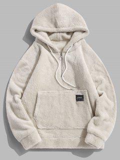 Applique Solid Color Faux Fur Half Zipper Drawstring Hoodie - Warm White M