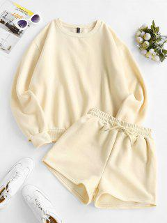 Crewneck Fleece-lined Sweatshirt And Drawstring Shorts Set - Light Coffee M