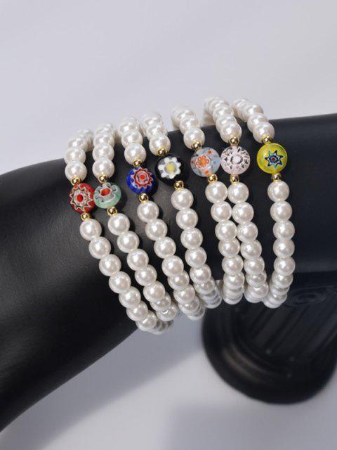 7 Stück Künstliche Perle Blumen Glasur Elastisches Armband - Weiß  Mobile