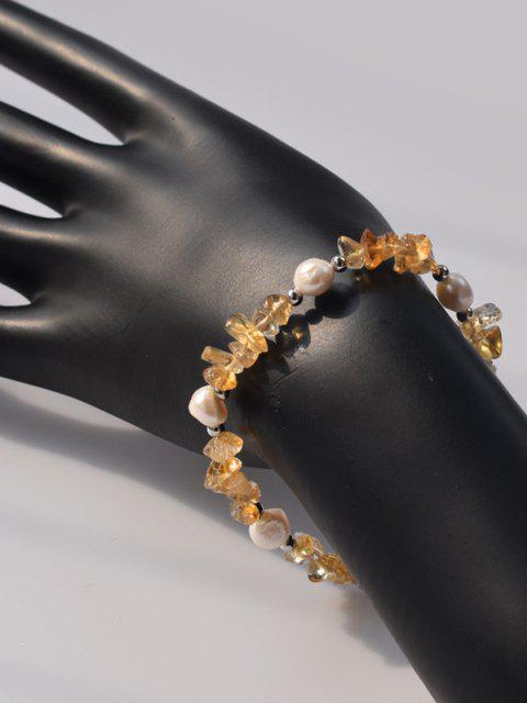 Natürliche Perle Unregelmäßige Kristall Armband - Gelb  Mobile