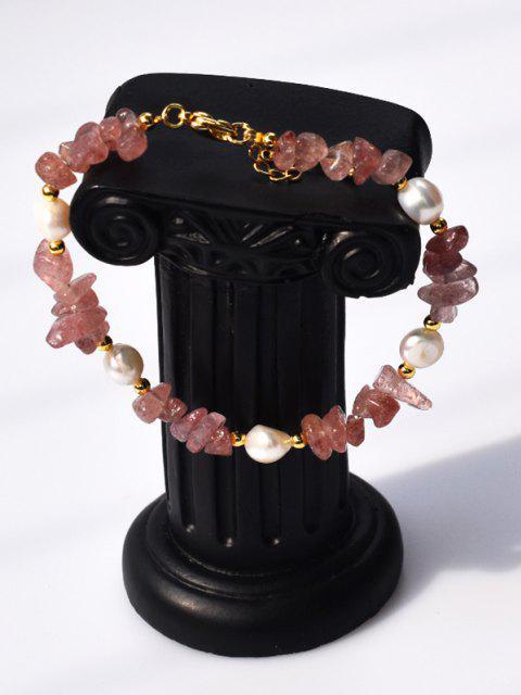Unregelmäßige Künstliche Kristall Perlenkette Armband - Rosa  Mobile