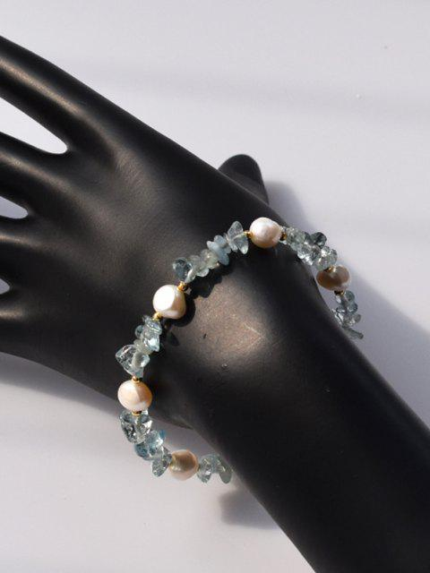 Unregelmäßige Künstliche Shearling Kristall Perlenkette Armband - Tron Blau  Mobile