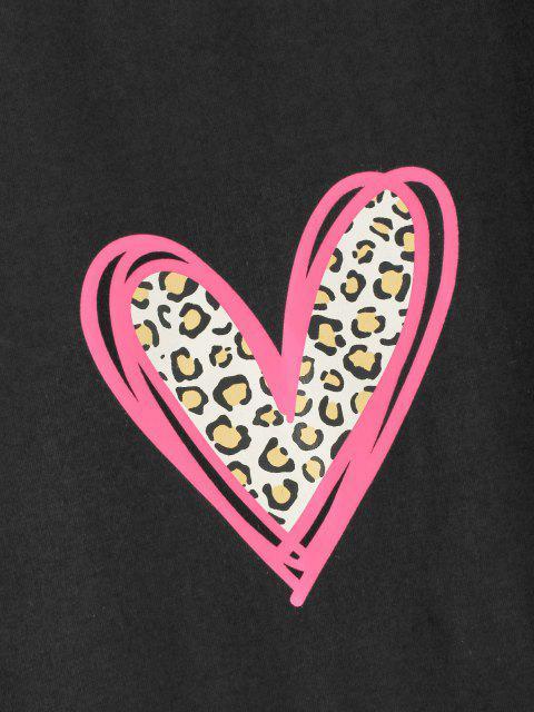 ZAFUL Herz Leopard Valentinstag T-Shirt - Schwarz S Mobile