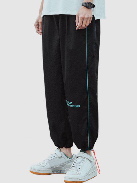 Pantalones Casuales a Rayas con Estampado de Letras - Negro S Mobile