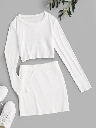 ZAFUL Open Back Lace Up Bodycon Skirt Set - White M