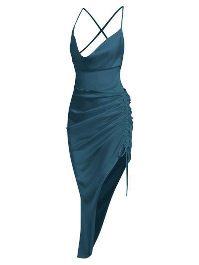 Satin Asymmetrical Cinched Split Slip Dress - Deep Green S
