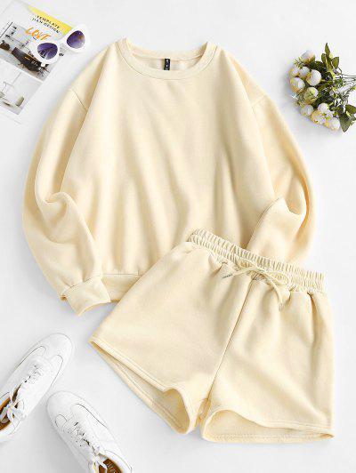 Crewneck Fleece-lined Sweatshirt And Drawstring Shorts Set - Light Coffee S